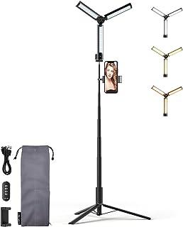 Lofer Led-ringlamp, videolamp met statief, 180 cm, multifunctioneel, 14 inch oplaadbaar, selfieringlamp, 3 kleuren en 5 he...