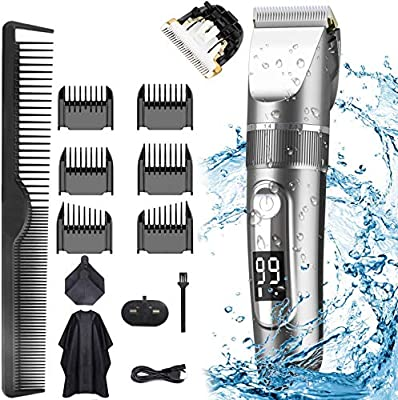 Hair Clippers, Professional Hair Trimmer Cordless Clippers Beard Shaver Electric Haircut Kit IPX7 Waterproof USB Rechargeable LED Display Beard Trimmer for Men and Family Use from CHENXUDONG