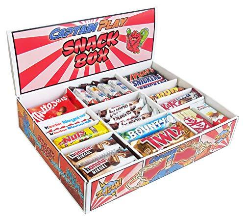 CAPTAIN PLAY | Snack Box mit 80 Schokoriegeln in 14 verschiedenen Sorten | 2,4 kg Süßigkeiten Box