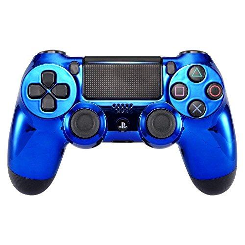 eXtremeRate Obere Hülle Case Cover Oberschale Schutzhülle Skin Schale Gehäuse Shell für PS4 Pro PS4 Slim Playstation 4 Controller (CUH-ZCT2 JDM-040 JDM-050 JDM-055)-Chrome Blau