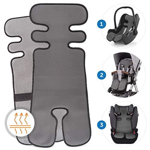 Copriseggiolino estivo traspirante per passeggino, ovetto e seggiolino auto - Copriseduta assorbente, protegge la superficie dalle macchie di sudore - Grigio scuro