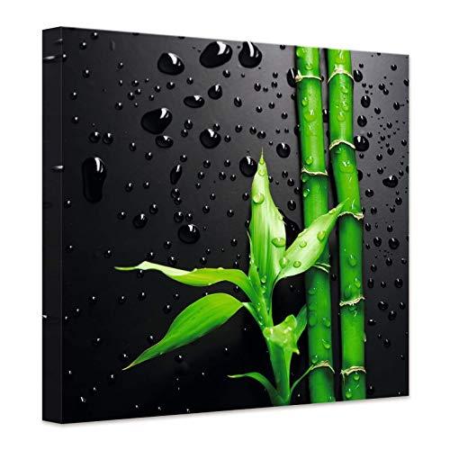 Lienzo de bambú sobre negro – cuadrado bambú asiático Wellness gotas de agua baño – 120