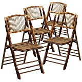 Flash Furniture 4 Pack American Champion Bamboo Folding Chair