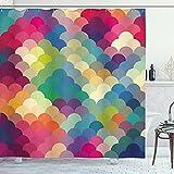 Cortina abstracta color retro escalas cuarto de baño cortina de ducha tela impresión decoración del hogar bañera cortina inodoro