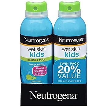 Neutrogena Wet Skin Kids Sunscreen Spray Water-Resistant and Oil-Free Broad Spectrum SPF 70+ 5 oz 2PK