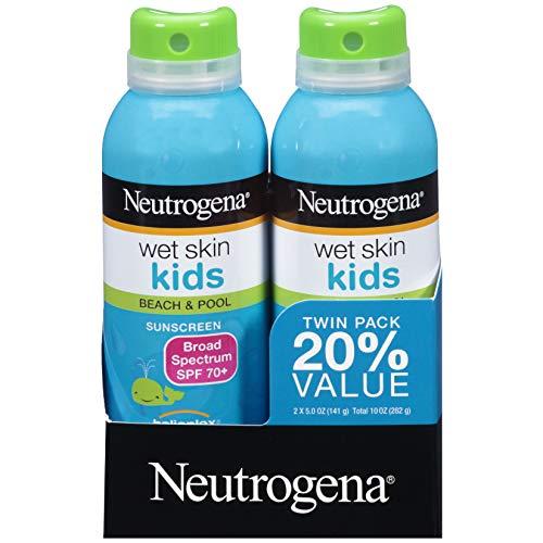 Neutrogena Wet Skin Kids Sunscreen Spray, Water-Resistant and Oil-Free, Broad Spectrum SPF 70+, 5 oz 2PK