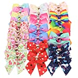 28PCS Hair Bows for Girls 3.5Inch Boutique Grosgrain Ribbon Hair Bows Alligator Hair Clips Rainbow Bows Unicorn Hair Clips Hair Accessories for Baby Girls Toddlers Kids Children In Pairs
