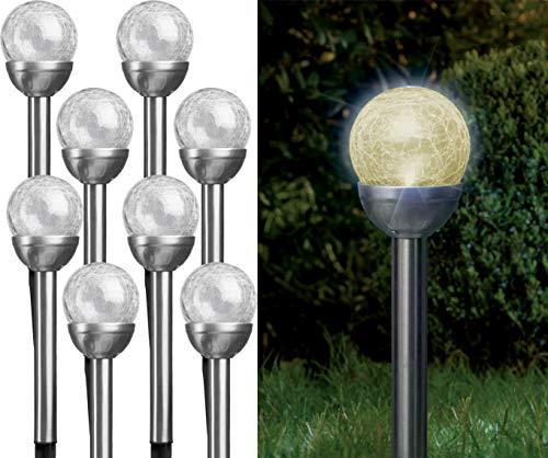Bonetti - Solarlampen für Außen aus Edelstahl mit Glaskugel in Bruchglas-Optik, warm-weiße LED, kabellos und wetterfest, dekorative Solarleuchte für den Garten, Terrasse und Balkon (8)