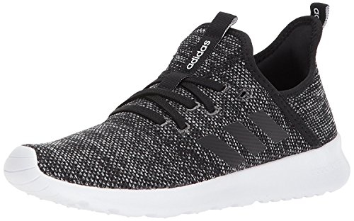 adidas womens Cloudfoam Pure Running Shoe, Black/Black/White, 6.5 US