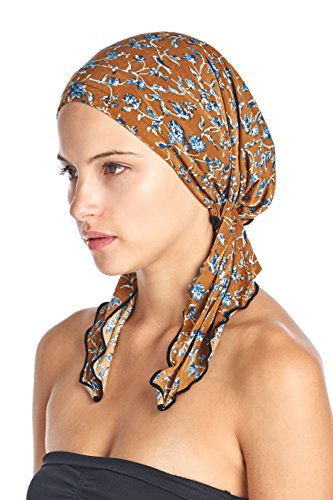 Ashford & Brooks Women's Pretied Printed Fitted Headscarf Chemo Bandana - Brown Birds