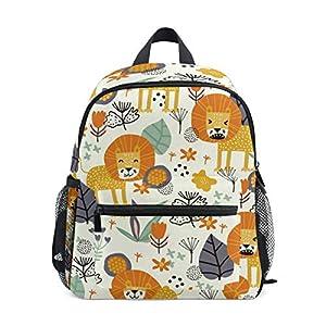 51ODKP7OP5L. SS300  - Mochila para niños Bolso de Preescolar para niños pequeños, león y Plantas Tropicales, para niñas pequeñas niños…