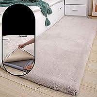 取り外し可能で洗える洗い油のカーペット、厚い寝室のベッドサイドの毛布、取り外し可能なカーペット表面+冷たい絹のスポンジの底,Gray b,70x160cm