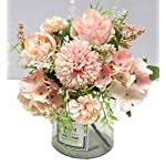 tbuy 2 pack fake artificial flowers hydrangea daisy rose for home hotel decor (pink)