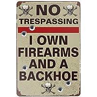 ヴィンテージスタイルのブリキの看板-立ち入り禁止の私自身の銃器とバックホウバーパブガレージホテルダイナーカフェホームアイアンメッシュファームスーパーマーケットモールフォレストガーデンドアの壁の装飾アートブリキの看板12x8インチ
