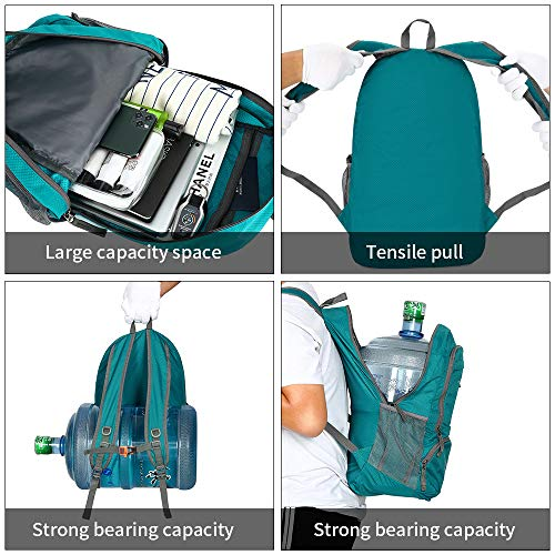 FENGDONG 35L Lightweight Foldable Waterproof Packable Travel Hiking Backpack Daypack for men women Green