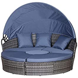 Outsunny Mobilier de jardin en rotin – Canapé-lit rond avec table basse – Ensemble de meubles de conversation – Gris