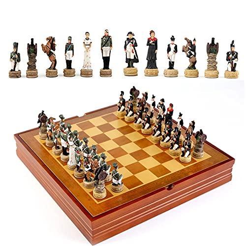 KLMN Juego de Ajedrez Juego de Inteligencia Infantil Tema Histórico de Rusia Francia a Juegos de Ajedrez de Guerra Piezas de Ajedrez de Resina Juego de Mesa de Madera