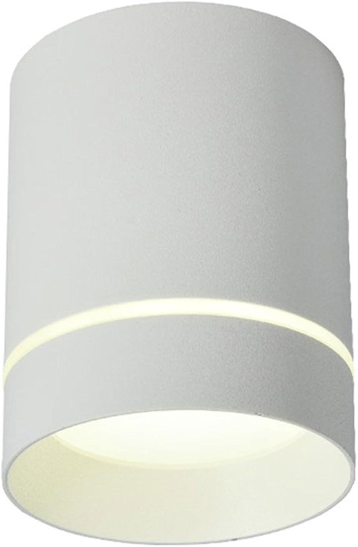 WSXXN LED 9W12W Nordic Minimalist Runde Voll Aluminium Decke Downlight Wohnzimmer Schlafzimmer Hintergrund Wand Strahler (schwarz, wei) (Farbe   Wei-High 10cm)
