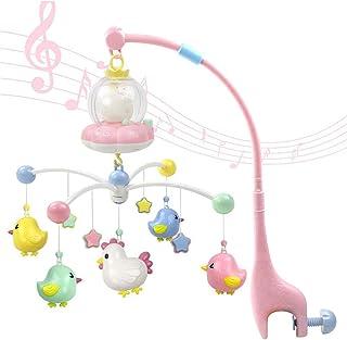 مجموعة العاب خشخيشات مع صندوق موسيقي متنقل تركب على سرير الاطفال، ملحقات زينة قابلة للحمل لون زهري