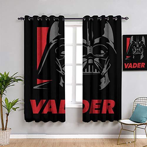Cortinas con aislamiento térmico de Star Wars Icons Posters Vader de 163 cm de ancho x 163 cm de largo para habitaciones de niños