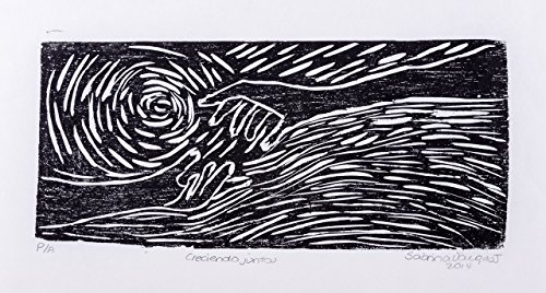 Xilography, woodblock print, handmade art, Watching over us, Costa Rica, home decor, Sabrina Vargas-Jimenez