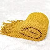 Sofier Soft Throw Blankets with Tassels and Solid Pattern 50'x 60' Knit Throw Blankets for Couch Bed Decoration Living Room Office Travel All Season Washable (Mustard)