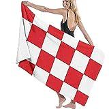 DSSYEAH Toallas De Playa para Mujeres Hombres Patrón De Bandera De Croacia Toallas De Baño Secado Rápido Manta De Piscina De Viaje Multiusos Grande 80X130Cm