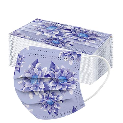 POTTOA 50pcs Floral Disposable Face_mask. with Designs for Women Girls Adults Cute Colored Paper_Face_mask for Coronɑvịrus Protection Breathable 3 Layers with Nose Wire for Outdoor (50, Navy Blue)