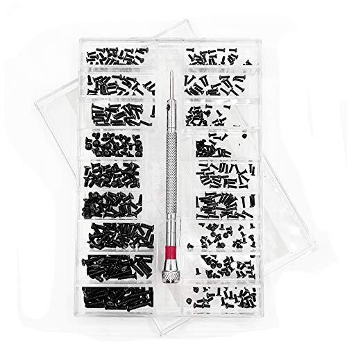 500 piezas Kit de Surtido de Tornillos Pequeños, con Destornillador, Micro Tornillos de Acero Inoxidable, 18 Tamaños, para Gafas, Computadora Portátil, Joyería …