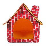 nobrands Pet House - Red Removable Cama Plegable Lavable Ladrillo Chimenea Gato Cachorro Tienda de campaña para casa de Mascotas(Rojo)