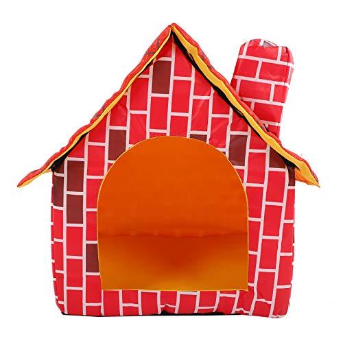 Boumcat Cama plegable para mascotas y gatos con diseño de jaula para perros, cama plegable de ladrillo rojo, chimenea de gato, cachorro, tienda de campaña para mascotas extraíble y lavable