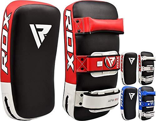 Cible Kick Boxing Pads Mitaines Entra/înement Mat Noir Convexe Peau Cuir avec Ajustable Sangle RDX MMA Incurv/é Pattes dours Boxe Muay Thai Pao Frappe