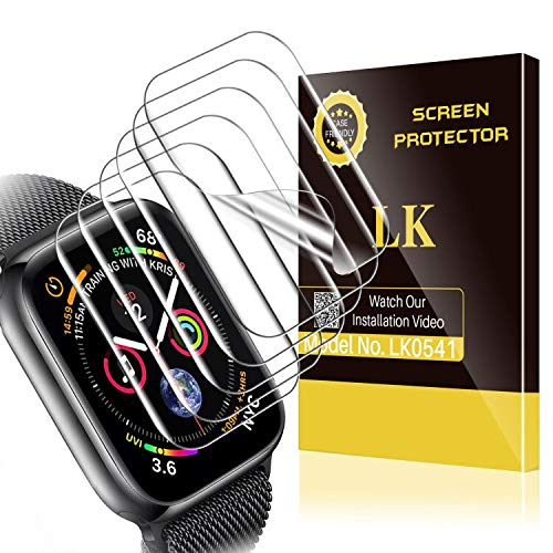 6 Pack LK Screen Protector Compatible with Apple Watch Series 6 SE Series 5 Series 4 40mm Series 3 38mm, Model No. LK0541 Korean Material, Case Friendly, Bubble Free, HD Transparent Flexible TPU Film