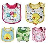 ElecMotive® 5 teilige Mädchen Jungen Babylätzchen Weiches Wasserdicht Lätzchen aus Cotto passen Neugeborenes Wasserdichtes Baby Lätzchen mit Klettverschluss 3-24 Monaten (E)