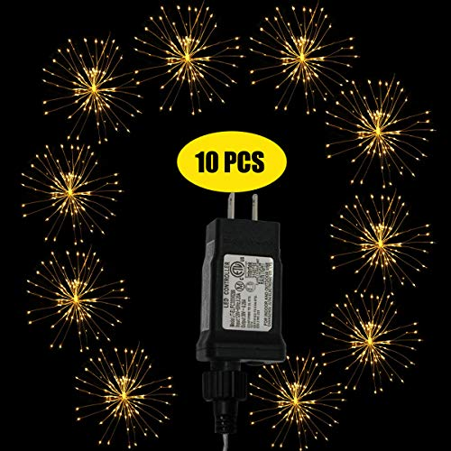 Dreamworth 10 Pcs Total 600 LED Firework Copper Wire Lights, Fairy Twinkle Lights Plug in String Lights 8 Modes Waterproof Starburst Lights for Christmas, Birthday, Bedroom, Corridor Patio, Wedding