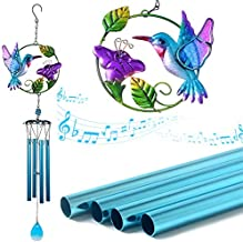 VEEKI Hummingbird Wind Chimes, Stained Metal Glass Unique Memorial Wind Chime for Outside Deep Tone Outdoor Indoor Décor for Home Garden Window Yard Patio Lawn Room Porch Gifts for Women Mom (Blue)