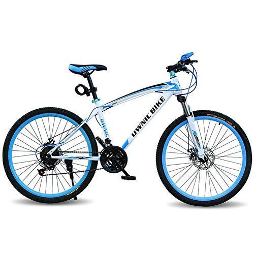 LZGBH Bicicleta De Montaña Frenos De Doble Disco Amortiguador De 21 Velocidades Amortiguador 26 Pulgadas Hombres Y Mujeres Bicicleta Tx-30 Digitación Herramienta De Viaje IdealWhite Blue