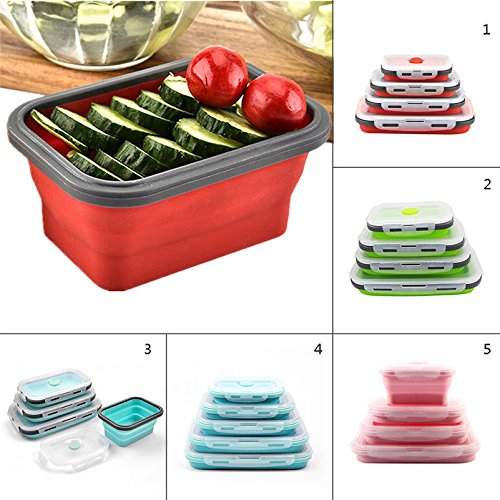 Fiesta Silicone Lunch Box Fashionable Stackable Food Storage Lunch Bento Box Freezer To Microwave Oven Safe 4 Size Available 4 1 piece 1200ml
