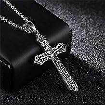 JINKEBIN kettingen Kruis Christus Jezus Hanger Ketting Rvs Link Byzantine Ketting Zware Mannen Sieraden Gift (Length : 60c...