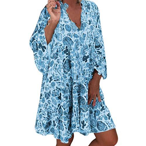 SHINEHUA Sommerkleid Damen Blusenkleid Große Größen Kleider Elegant Knielang Tunika Kleid Rock Bunt Strandkleider Lange Shirts Kleider Tunikakleid A-Linie Minikleid Freizeitkleider