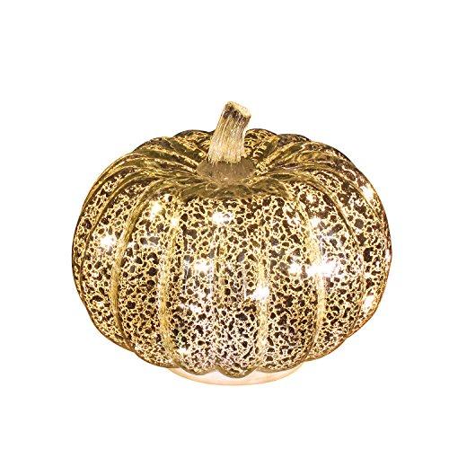 Romingo Mercury Glass Pumpkin Light with Timer for Halloween Pumpkin Decorations Fall Decor,Silver, 5.5 inches