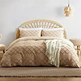 Bedsure Tufted Duvet Cover Set King Size, 3 Pieces Embroidery Shabby Chic Comforter Cover Set, Soft and Durable Bedding Set for All Seasons, Khaki