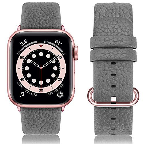 WYYHYPY 14 colores Cuero genuino Apple Strap Strap 38mm 40mm 42mm 44mm, correa de reemplazo Compatible con iWatch Series SE 6 5 4 3 2 1 Nike + Hermes & Edition correa de reloj