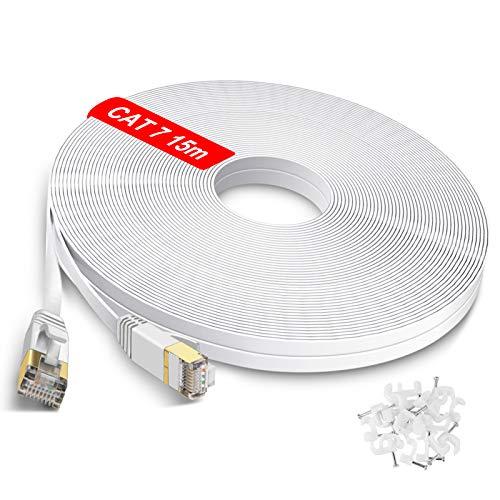 GLCON LANケーブル CAT7 15m イーサネットケーブル カテゴリー7準拠ランケーブル RJ45コネクタ スーパーフラットらんけーぶる sngless-50フットlanケーブル やわらかネットワークケーブル 爪折れ防止lan ケーブル15m PS4 PLC ADSL回線 CATV回線 光通信回線 ISDN回線に対応しています(15m ホワイト)