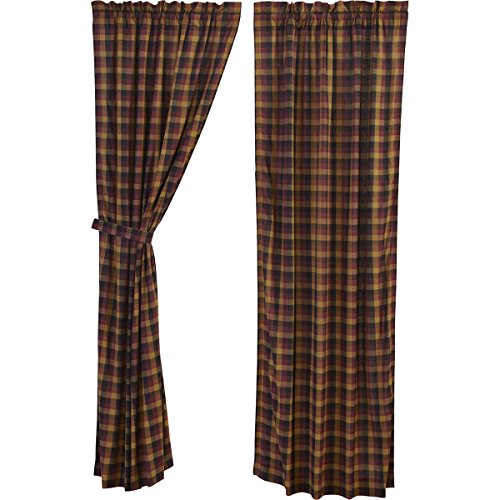VHC Brands Heritage Farms Primitive Check Panel Set of 2 84x40 Country Curtains, Burgundy