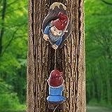 Kletterzwerge Tree Hugger Decor, Gartenzwerge Figur Gartendeko Figuren für Außen, Einzigartige Gartenskulptur Cartoon Dwarf Hängende Ornamente (A)