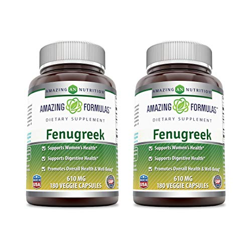 Amazing Formulas Fenugreek Seed Supplement 610 Mg 180 Veggie Capsules (Non-GMO, Gluten Free) - Supports Women's Health Supports Digestive Health (Pack of 2)