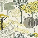 Rasch Papel pintado 539943 de la colección Amazing con árboles abstractos en amarillo, verde y gris sobre fondo blanco crema y estructura ligera, 10,05 m x 53 cm