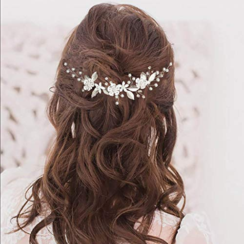Jeweky Bride Wedding Pearl Hair Vine Pieces Silver Bridal Crystal Headband Leaves Headpieces Accessories Jewelry for Women and Girls