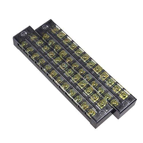 2 Stück 12 Positionen doppelreihig 600 V 25 A Elektrisches Kabel Barriere Klemmleiste TB-2512L